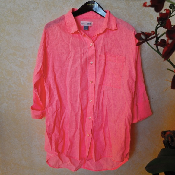 8d8c01c5 Old Navy Tops | Nwt Neon Coral Linen Blend Button Down Shirt | Poshmark